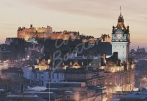 Edinburgh Castle & City at Dusk, Edinburgh 1 Postcard (H Std CB)