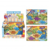 Wood Works Dino Chunky Puzzle 2 Asst (RRP £6.99v)(Mar)