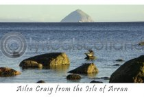Ailsa Craig from Kildonan Shore Postcard (H A6 LY)