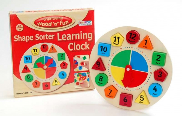 Wood Shape Sorter Learning Clock