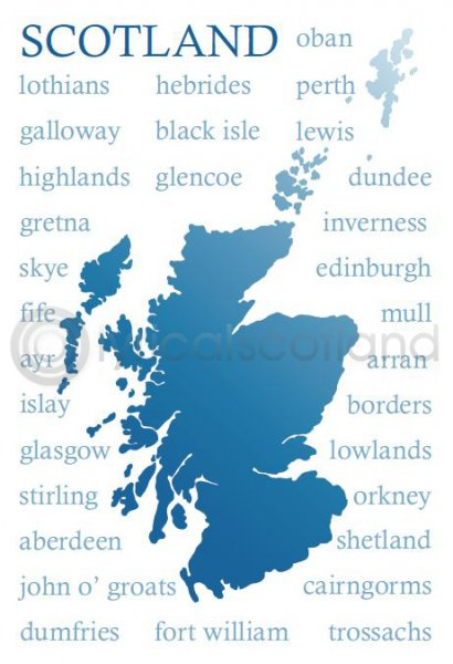 Scotland Place Names Silhouette Postcard (HA6)