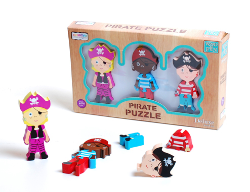 Wood Deluxe 3pc Pirate Puzzle