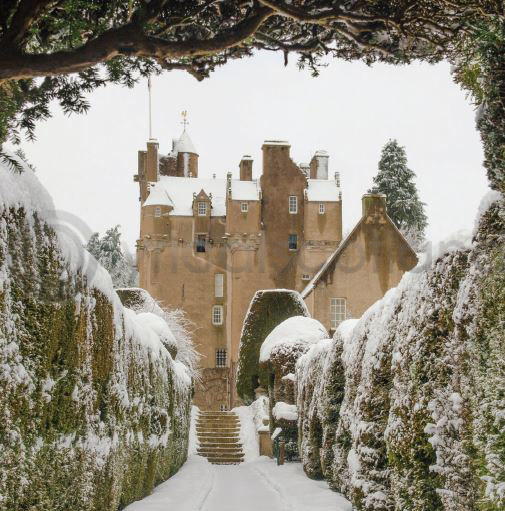 Winter Crathes Castle in Snow Colour Photo Greetings Card