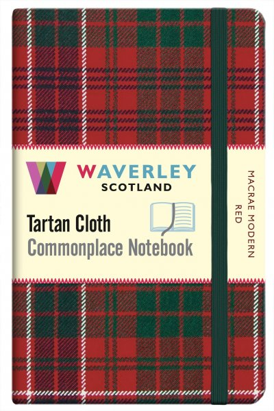 Tartan Cloth Notebook Pocket: MacRae Modern Red