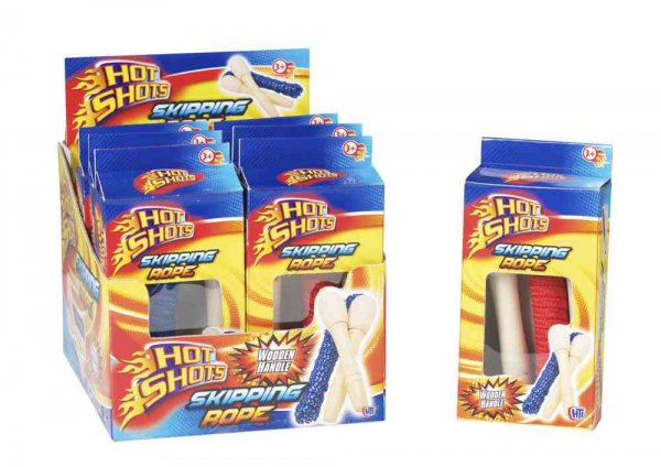 Hot Shots Wooden Handle Skipping Rope (Feb)
