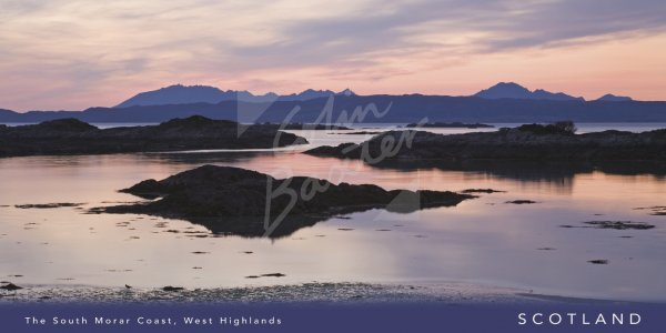 Dusk on South Morar Coast, mountains Skye beyond Postcard (H Vis
