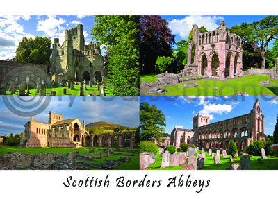 Scottish Border Abbeys Composite Postcard (HA6)
