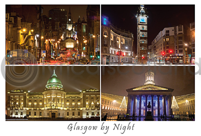 Glasgow by Night Composite Postcard (HA6)