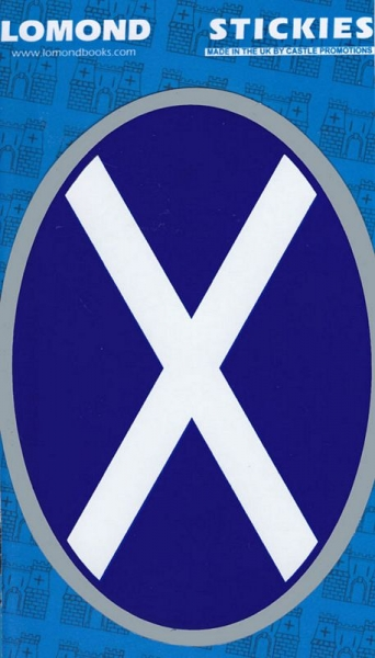 St Andrews X - Saltire Oval Silver Large Stickies