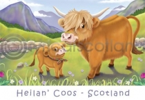 Scotland - Heilan' Coos Cartoon Magnet (H)